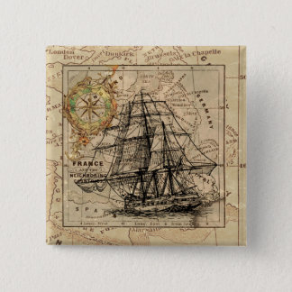 Vintage Sailing Ship and Old European Map Pinback Button