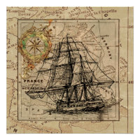 Vintage Sailing Ship and Old European Map Poster
