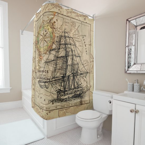 Vintage Sailing Ship and Old European Map Shower Curtain