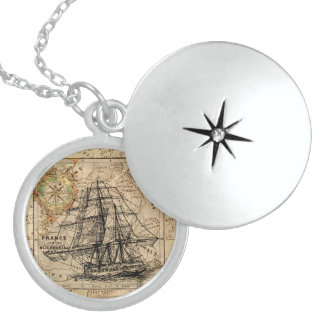 Vintage Sailing Ship and Old European Map Sterling Silver Necklace