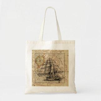 Vintage Sailing Ship and Old European Map Tote Bag