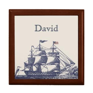 Vintage Sailing Ship Custom Tile Box