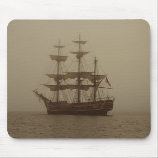 VINTAGE SAILING SHIP IN THE FOG MOUSE PAD