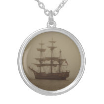 VINTAGE SAILING SHIP IN THE FOG SILVER PLATED NECKLACE