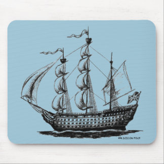 Vintage sailing ship ink pen drawing art mouse pad