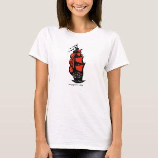 Vintage sailing ship ink pen drawing art tshirt