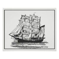 Vintage Sailing Ship photo Poster