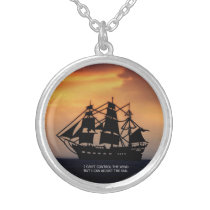 VINTAGE SAILING SHIP-QUOTE SILVER PLATED NECKLACE