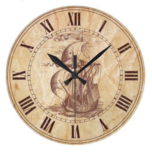 Vintage Sailing Ship Wall Clock