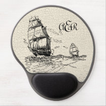 Vintage Sailing Ships Ivory Personalized Crackled Gel Mouse Pad