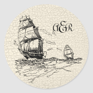 Vintage Sailing Ships Personalized Crackled Classic Round Sticker