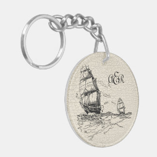Vintage Sailing Ships Personalized Crackled Keychain