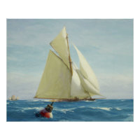 Vintage Sailing Sloop Yacht Painting (1910) Poster