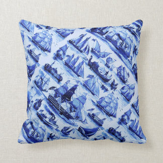 VINTAGE SAILING VESSELS AND SHIPS,Navy Blue Throw Pillow
