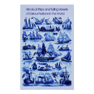 VINTAGE SAILING VESSELS,SHIPS OF VARIOUS NATIONS POSTER
