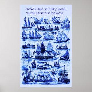 VINTAGE SAILING VESSELS,SHIPS OF VARIOUS NATIONS POSTER