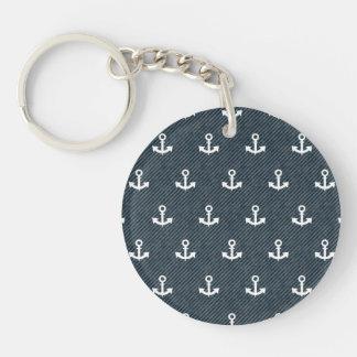 Vintage Sailor Blue and Cream Stripe Pattern Keychain
