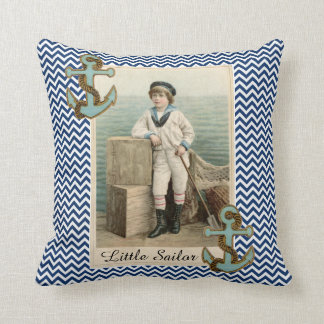 VINTAGE SAILOR BOY /ANCHOR AND ROPE ,BLUE CHEVRONS THROW PILLOW