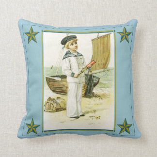 Vintage Sailor Boy with Telescope Pillow