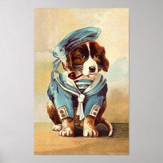 Vintage Sailor Dog Poster