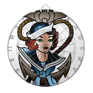 vintage sailor girl navy tattoo dartboard