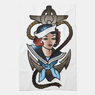 vintage sailor girl navy tattoo hand towels