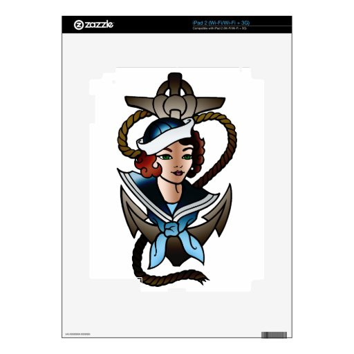 vintage sailor girl navy tattoo decal for the iPad 2
