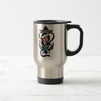 vintage sailor girl navy tattoo travel mug