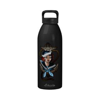vintage sailor girl navy tattoo reusable water bottle