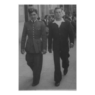 Vintage sailor soldier men couple gay interest poster