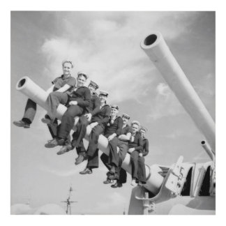Vintage sailors in the Navy aboard ship Panel Wall Art