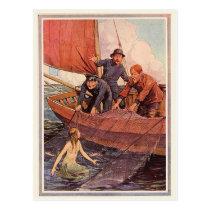 Vintage Sailors Mermaid Catch Postcard
