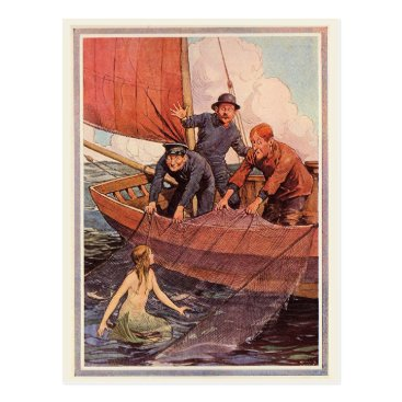 mermaidsparadise Vintage Sailors Mermaid Catch Postcard