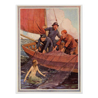 Vintage Sailors Mermaid Catch Poster