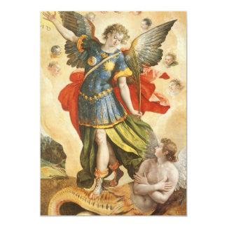 Vintage  Saint Michael Defeats Lucifer Invitation