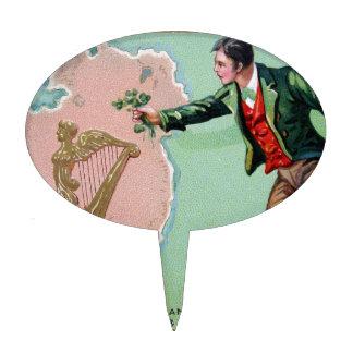 Vintage Saint Patrick's day erin's isle poster Cake Topper
