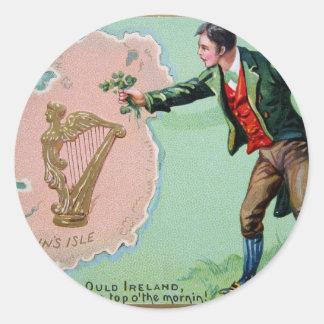 Vintage Saint Patrick's day erin's isle poster Classic Round Sticker