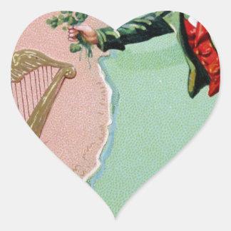 Vintage Saint Patrick's day erin's isle poster Heart Sticker