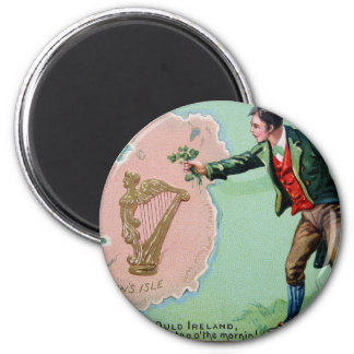 Vintage Saint Patrick's day erin's isle poster Magnet