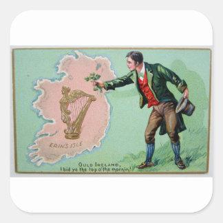 Vintage Saint Patrick's day erin's isle poster Square Sticker
