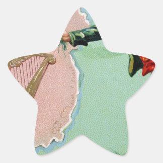 Vintage Saint Patrick's day erin's isle poster Star Sticker