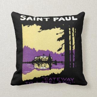 Vintage Saint Paul, Minnesota Throw Pillows