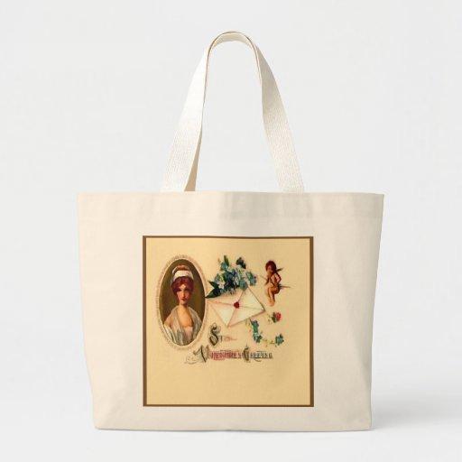 Vintage Saint Valentine Greetings Tote Bags