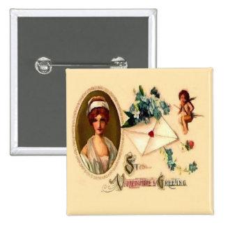 Vintage Saint Valentine Greetings Buttons