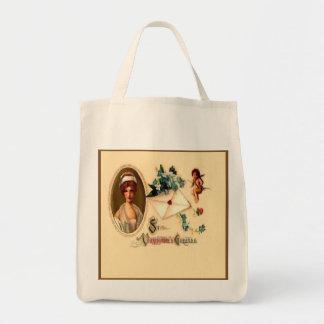Vintage Saint Valentine Greetings Reusable Tote Bag
