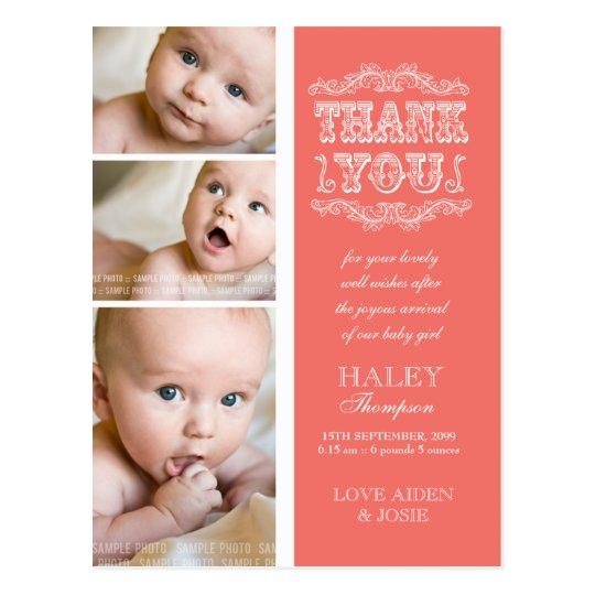VINTAGE Salmon 3 Photo Baby Thank You Post Card