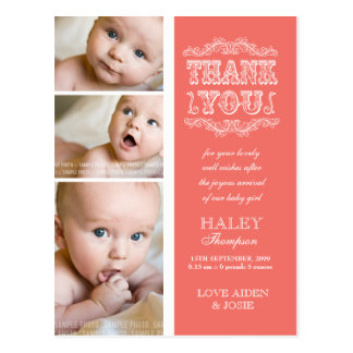 VINTAGE Salmon 3 Photo Baby Thank You Post Card