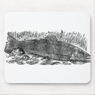 Vintage Salmon Illustration Mouse Pad