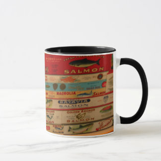 Vintage Salmon Labels Mug