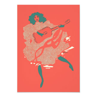 Vintage Salmon Teal Guitar Woman Musician Bold Card
